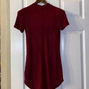 Maroon Bodycon Ribbed dress